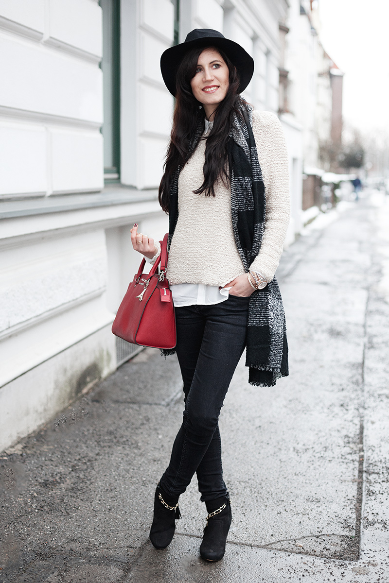 Bild Outfit, Layering, Zwiebellook, Bluse unter Pullover, Winterlook, Winterlayering, Fashionblog, Outfit, Blogger, Hannover