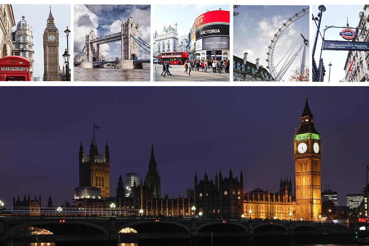 Bild : Big Ben, red Bus, Twoer Bridge, London Eye, London Reisebericht, Postcard, Fashionblog, Reiseblag, Travelblog