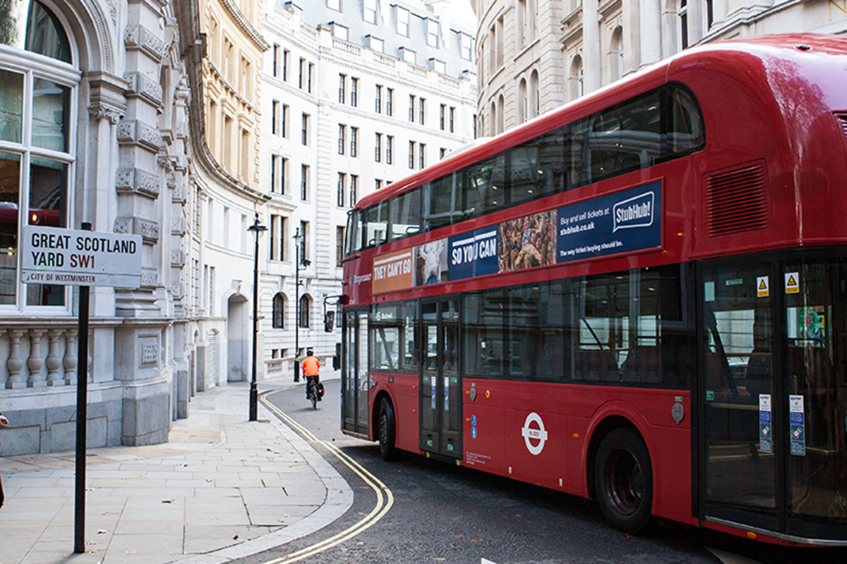 Bild London red Bus, City of Westminster, Scotland Yard