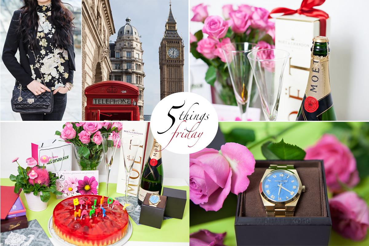 Bild 5 Things Friday, London, Paris, H&M, Michael Kors Uhr, Geburtstag, Moet